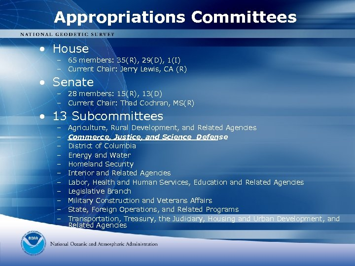 Appropriations Committees • House – 65 members: 35(R), 29(D), 1(I) – Current Chair: Jerry