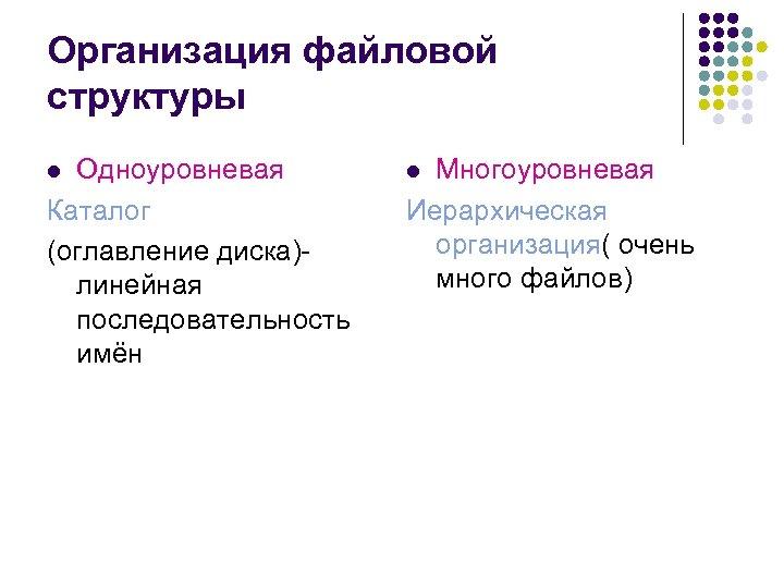 Организация файловой структуры Одноуровневая Каталог (оглавление диска)линейная последовательность имён l Многоуровневая Иерархическая организация( очень