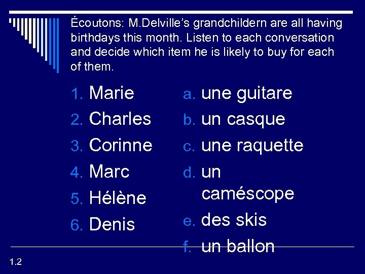 Écoutons: M. Delville's grandchildern are all having birthdays this month. Listen to each conversation