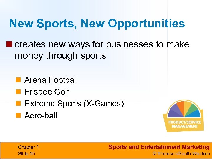 New Sports, New Opportunities n creates new ways for businesses to make money through