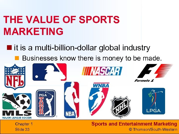 THE VALUE OF SPORTS MARKETING n it is a multi-billion-dollar global industry n Businesses