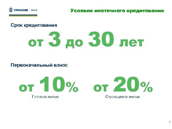 Условия ипотечного кредитования Срок кредитования от 3 до 30 лет Первоначальный взнос от 10%