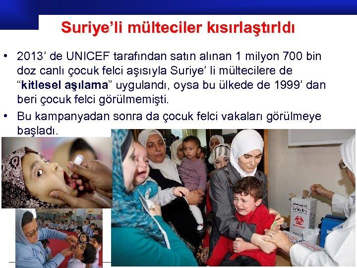 Suriye'li mülteciler kısırlaştırldı • 2013' de UNICEF tarafından satın alınan 1 milyon 700 bin