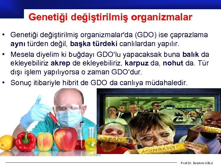 Genetiği değiştirilmiş organizmalar • Genetiği değiştirilmiş organizmalar'da (GDO) ise çaprazlama aynı türden değil, başka