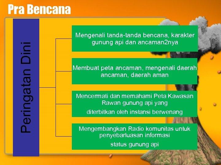 Peringatan Dini Pra Bencana Mengenali tanda-tanda bencana, karakter gunung api dan ancaman 2 nya