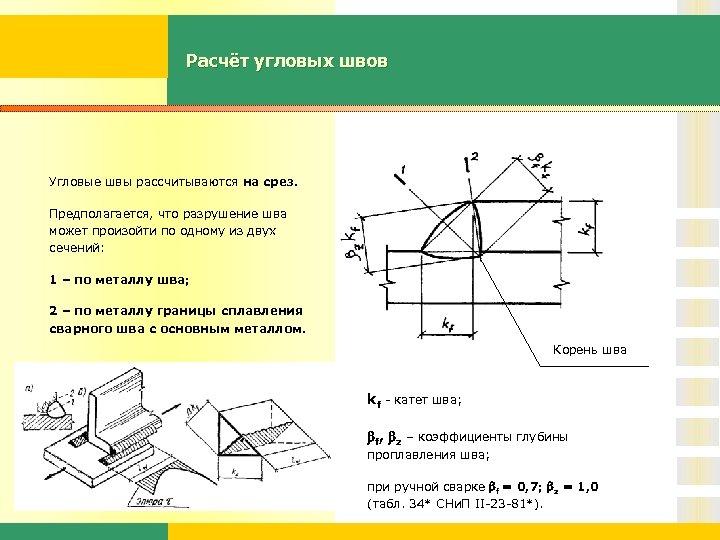 Расчёт угловых швов Угловые швы рассчитываются на срез. Предполагается, что разрушение шва может произойти
