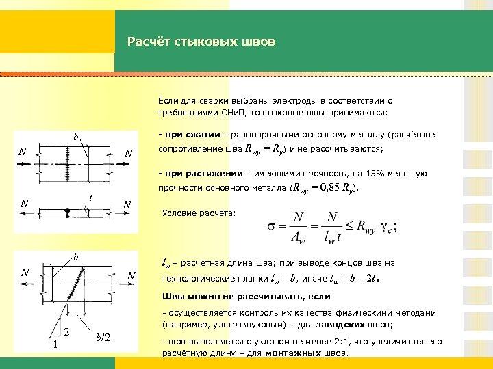 Расчёт стыковых швов Если для сварки выбраны электроды в соответствии с требованиями СНи. П,