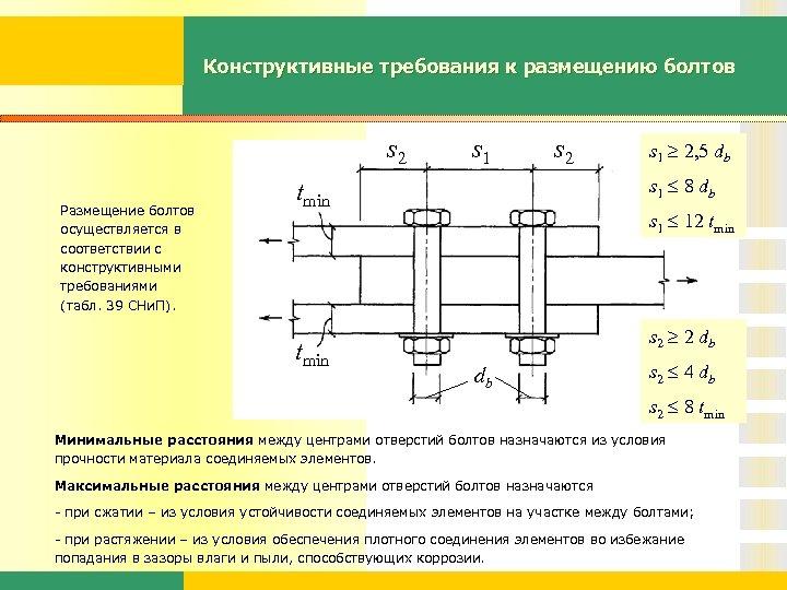 Конструктивные требования к размещению болтов s 2 Размещение болтов осуществляется в соответствии с конструктивными