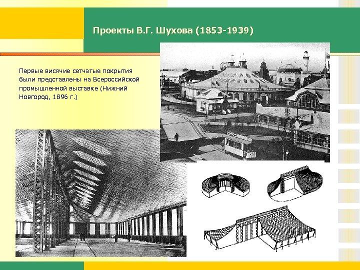 Проекты В. Г. Шухова (1853 -1939) Первые висячие сетчатые покрытия были представлены на Всероссийской