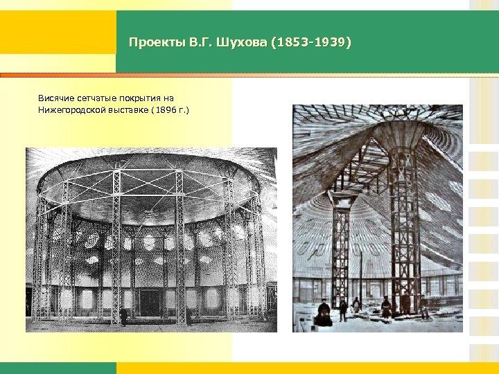 Проекты В. Г. Шухова (1853 -1939) Висячие сетчатые покрытия на Нижегородской выставке (1896 г.
