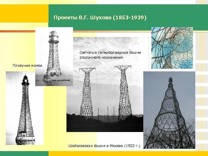 Проекты В. Г. Шухова (1853 -1939) Сетчатые гиперболоидные башни различного назначения Плавучие маяки Шаболовская