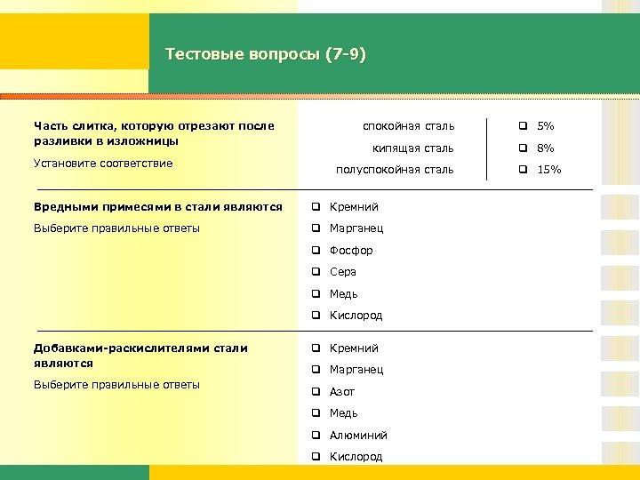 Тестовые вопросы (7 -9) Часть слитка, которую отрезают после разливки в изложницы Установите соответствие