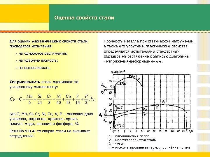 Оценка свойств стали Для оценки механических свойств стали проводятся испытания: - на одноосное растяжение;