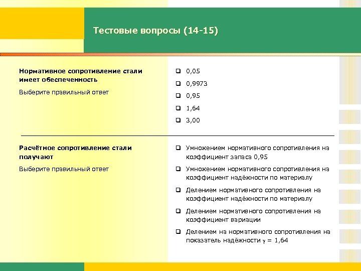 Тестовые вопросы (14 -15) Нормативное сопротивление стали имеет обеспеченность Выберите правильный ответ q 0,