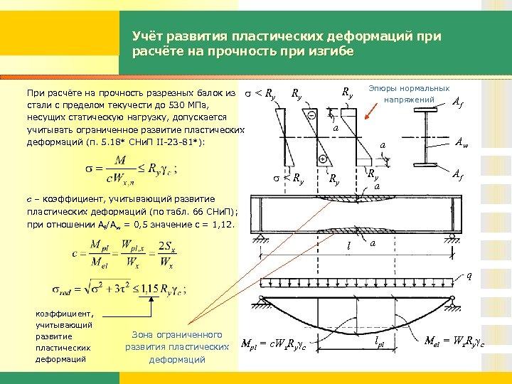 Учёт развития пластических деформаций при расчёте на прочность при изгибе При расчёте на прочность