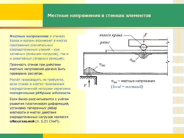 Местные напряжения в стенках элементов колесо крана Местные напряжения в стенках балок и колонн
