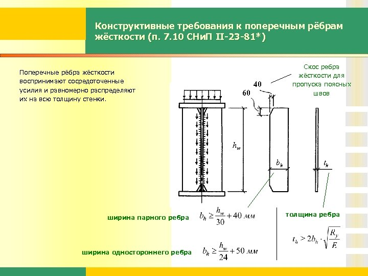Конструктивные требования к поперечным рёбрам жёсткости (п. 7. 10 СНи. П II-23 -81*) Поперечные