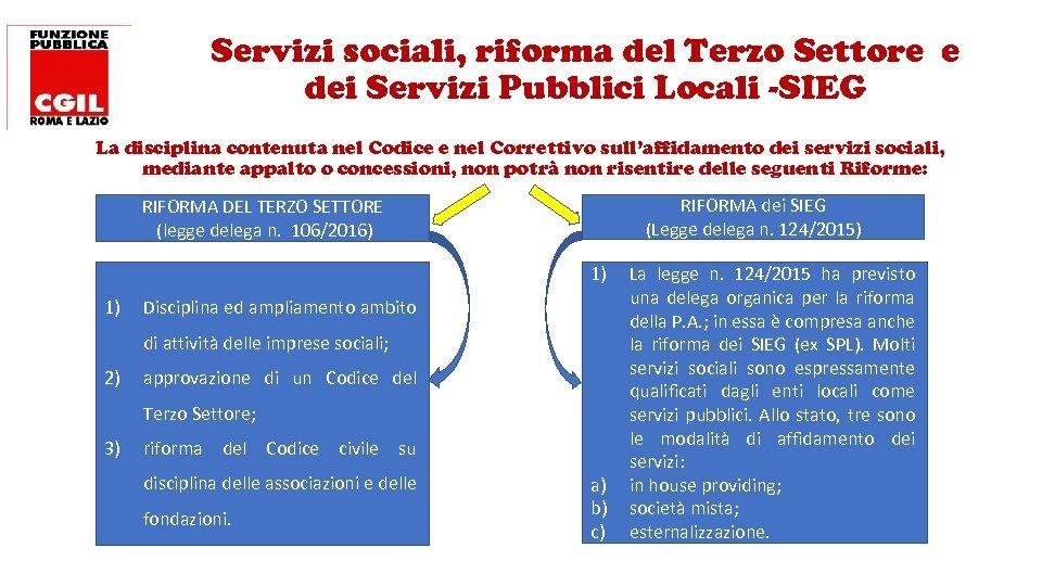 Servizi sociali, riforma del Terzo Settore e dei Servizi Pubblici Locali -SIEG La disciplina