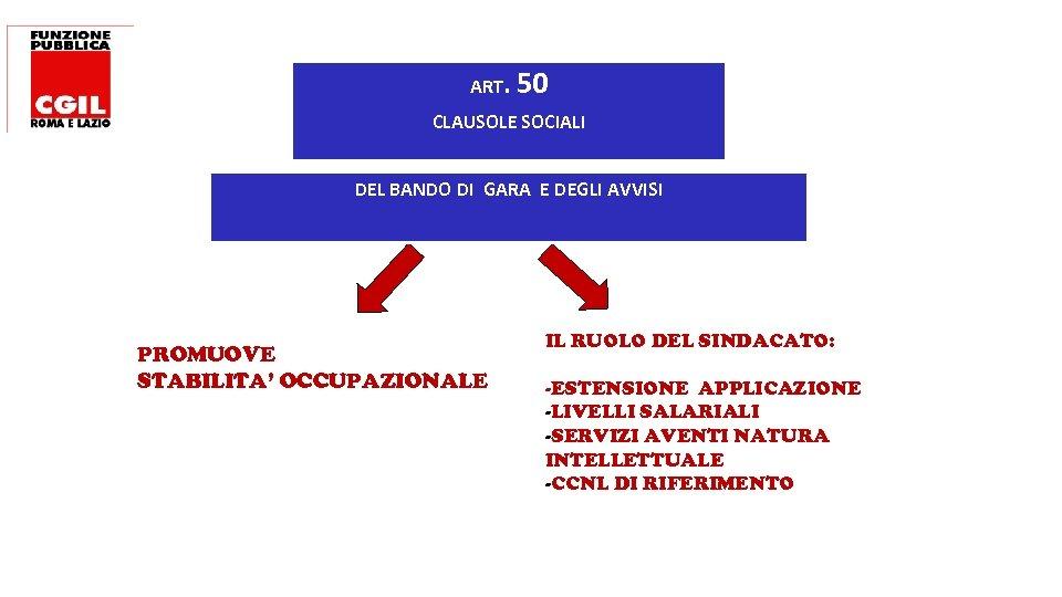 ART. 50 CLAUSOLE SOCIALI DEL BANDO DI GARA E DEGLI AVVISI PROMUOVE STABILITA' OCCUPAZIONALE