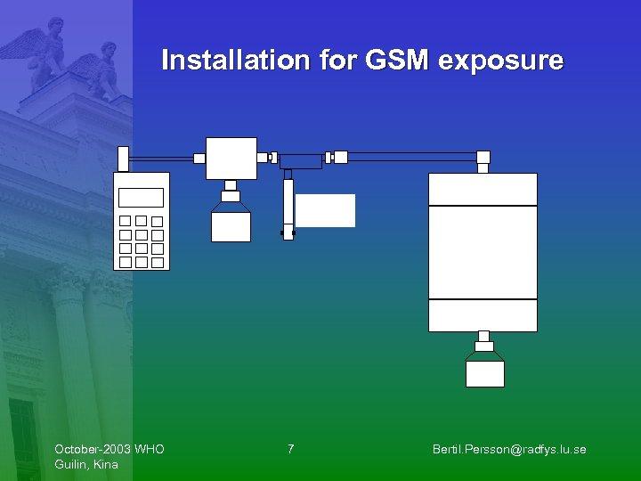 Installation for GSM exposure October-2003 WHO Guilin, Kina 7 Bertil. Persson@radfys. lu. se