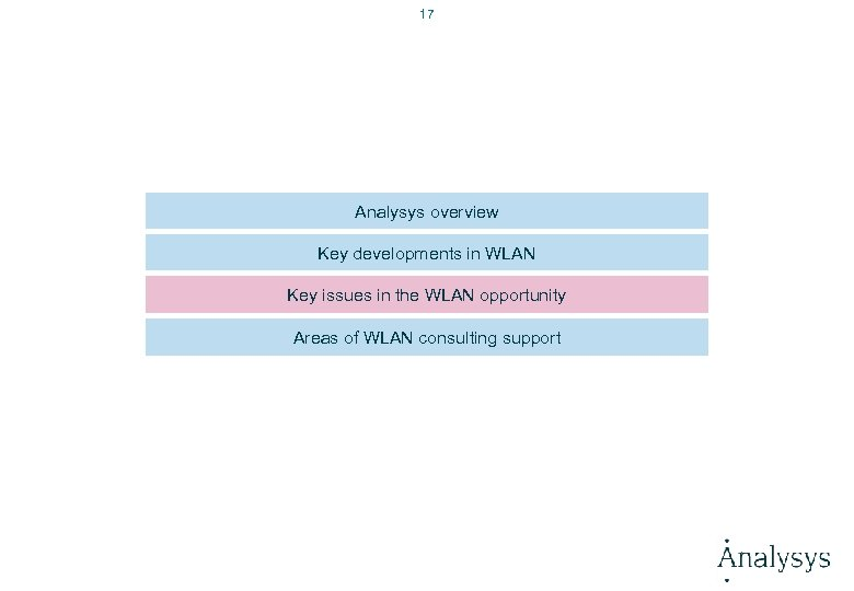 17 Analysys overview Key developments in WLAN Key issues in the WLAN opportunity Areas