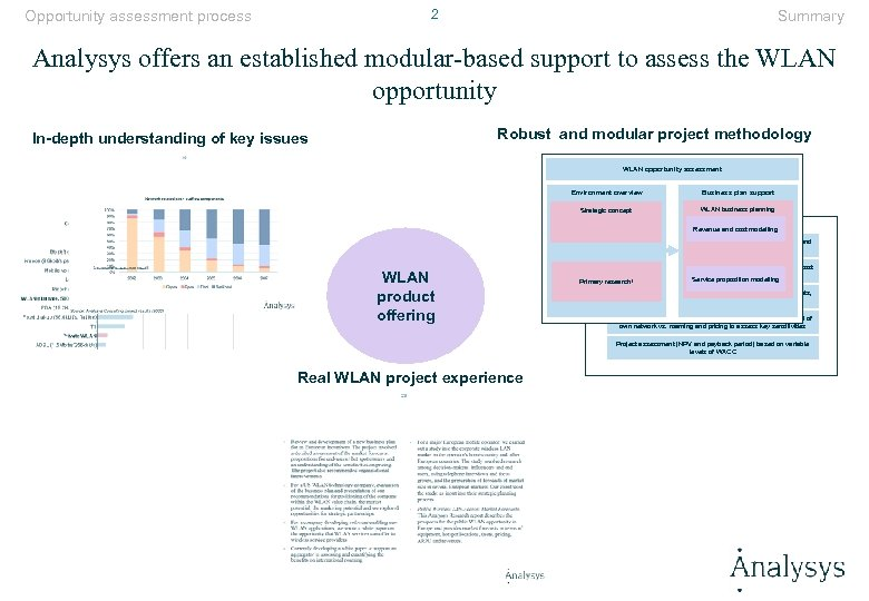 2 Opportunity assessment process Summary Analysys offers an established modular-based support to assess the
