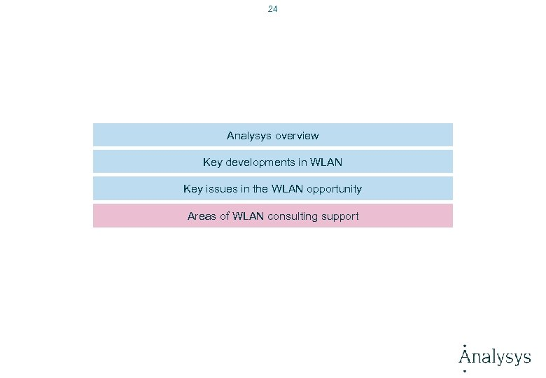 24 Analysys overview Key developments in WLAN Key issues in the WLAN opportunity Areas