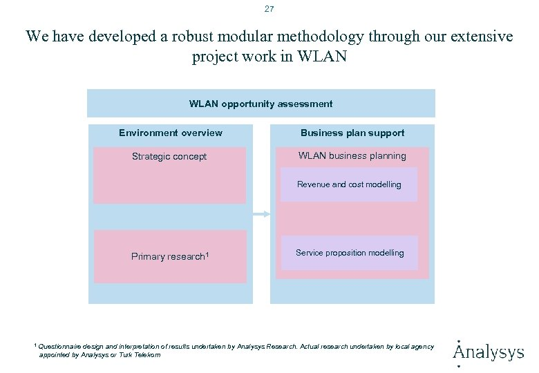 27 We have developed a robust modular methodology through our extensive project work in
