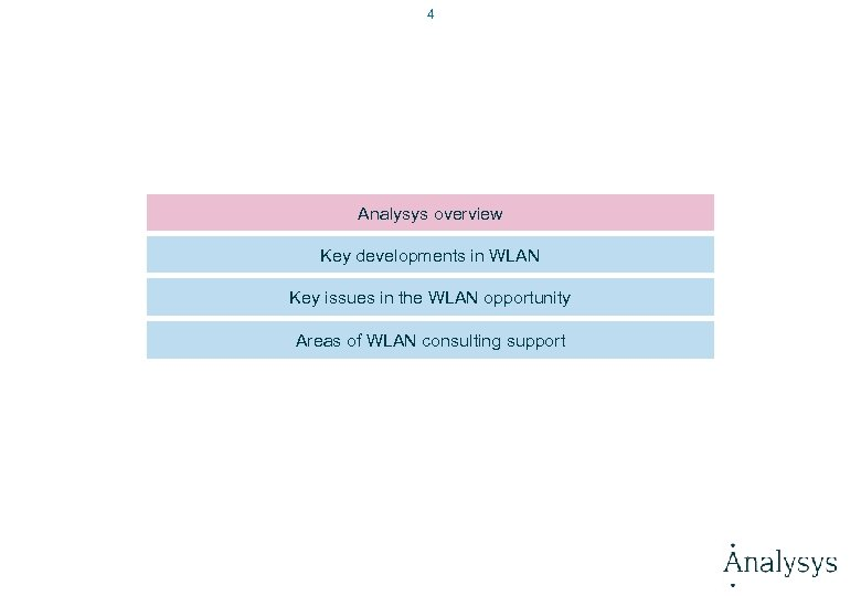 4 Analysys overview Key developments in WLAN Key issues in the WLAN opportunity Areas