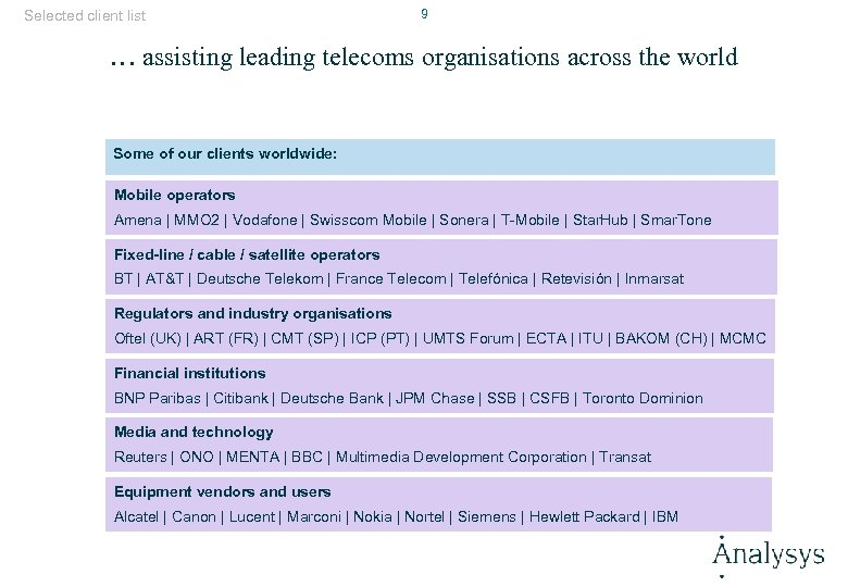 Selected client list 9 … assisting leading telecoms organisations across the world Some of