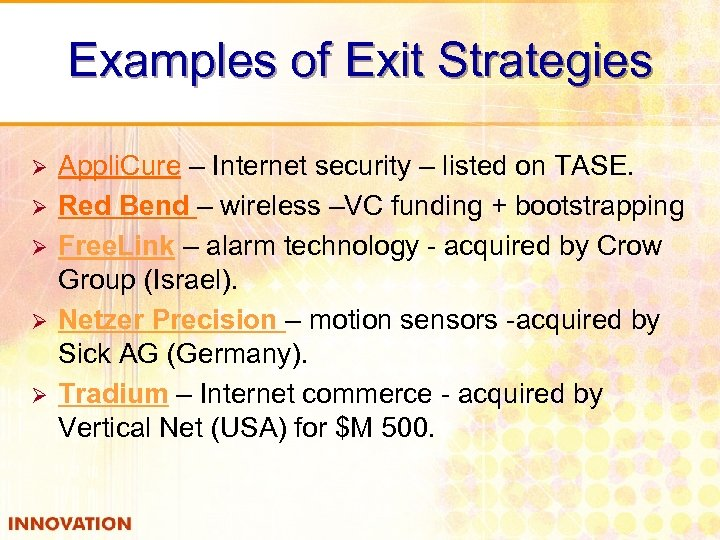 Examples of Exit Strategies Ø Ø Ø Appli. Cure – Internet security – listed