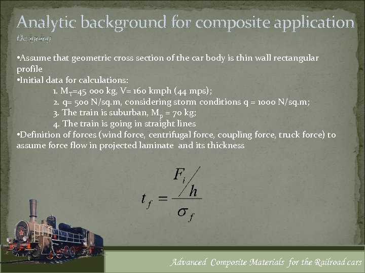 Analytic background for composite application Designing • Assume that geometric cross section of the