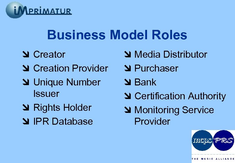 Business Model Roles à Creator à Creation Provider à Unique Number Issuer à Rights