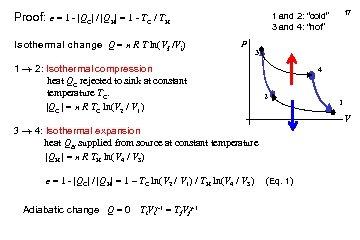 Proof: e = 1 -  QC  /  QH  = 1 - TC / TH
