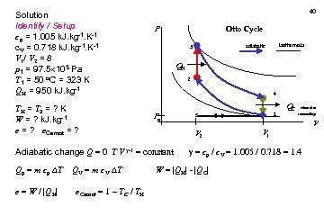 Solution Identify / Setup cp = 1. 005 k. J. kg-1. K-1 c. V