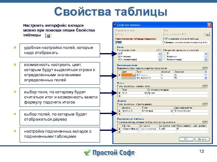 Свойства таблицы Настроить интерфейс вкладок можно при помощи опции Свойства таблицы: удобная настройка полей,