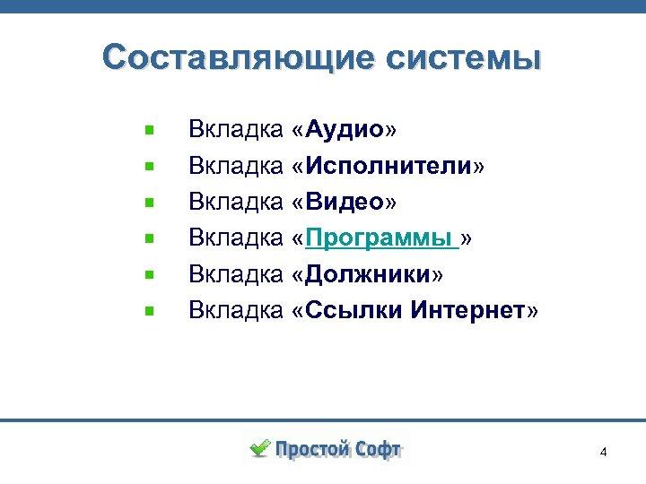 Составляющие системы Вкладка «Аудио» Вкладка «Исполнители» Вкладка «Видео» Вкладка «Программы » Вкладка «Должники» Вкладка