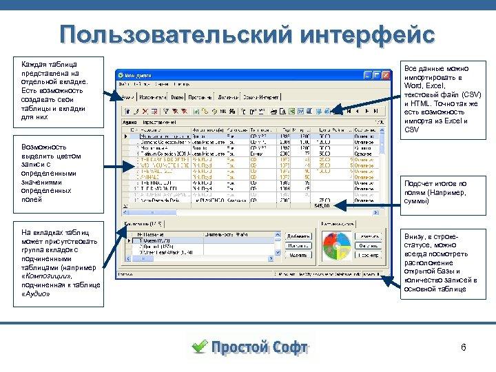 Пользовательский интерфейс Каждая таблица представлена на отдельной вкладке. Есть возможность создавать свои таблицы и
