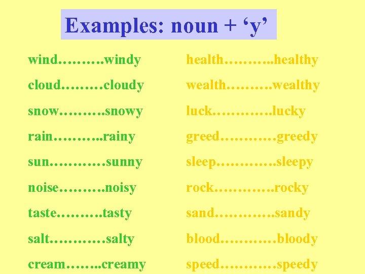 Examples: noun + 'y' wind………. windy health………. . healthy cloud………cloudy wealth………. wealthy snow………. snowy