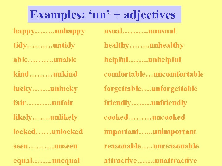 Examples: 'un' + adjectives happy……. . unhappy usual………. unusual tidy………. untidy healthy……. . unhealthy