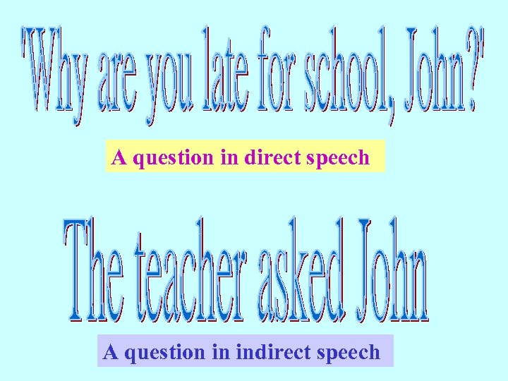 A question in direct speech A question in indirect speech