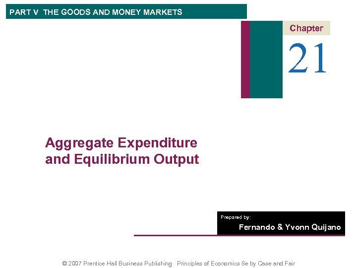 PART V THE GOODS AND MONEY MARKETS Chapter 21 Aggregate Expenditure and Equilibrium Output