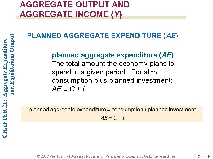 CHAPTER 21: Aggregate Expenditure and Equilibrium Output AGGREGATE OUTPUT AND AGGREGATE INCOME (Y) PLANNED