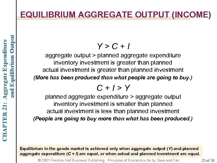 CHAPTER 21: Aggregate Expenditure and Equilibrium Output EQUILIBRIUM AGGREGATE OUTPUT (INCOME) Y>C+I aggregate output