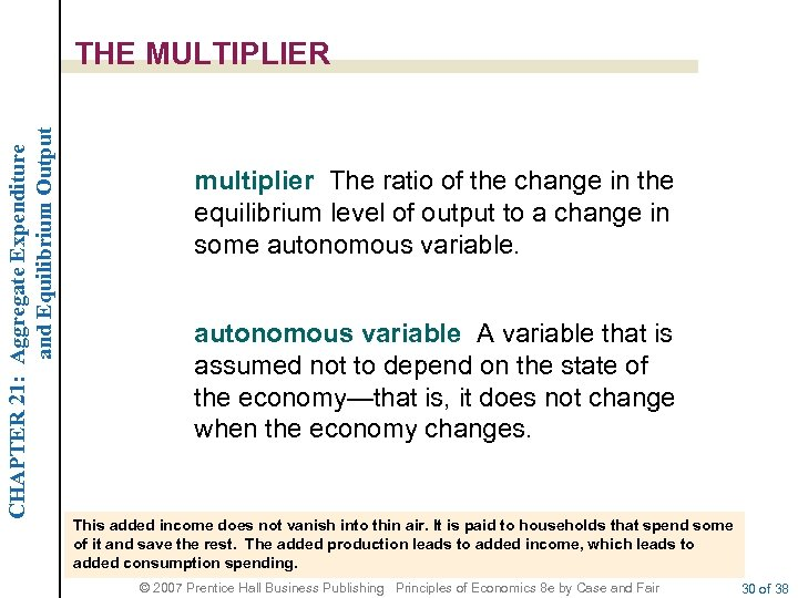 CHAPTER 21: Aggregate Expenditure and Equilibrium Output THE MULTIPLIER multiplier The ratio of the