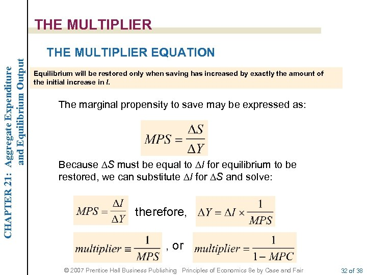 CHAPTER 21: Aggregate Expenditure and Equilibrium Output THE MULTIPLIER EQUATION Equilibrium will be restored