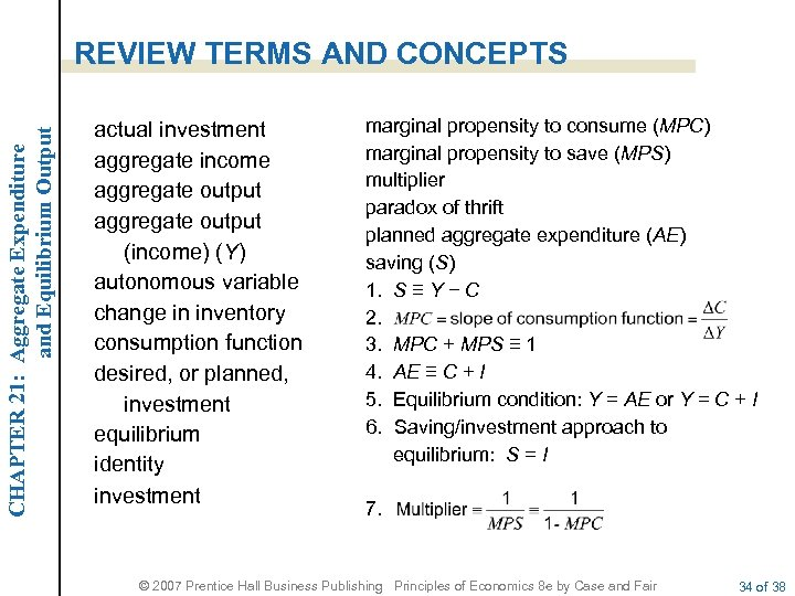 CHAPTER 21: Aggregate Expenditure and Equilibrium Output REVIEW TERMS AND CONCEPTS actual investment aggregate