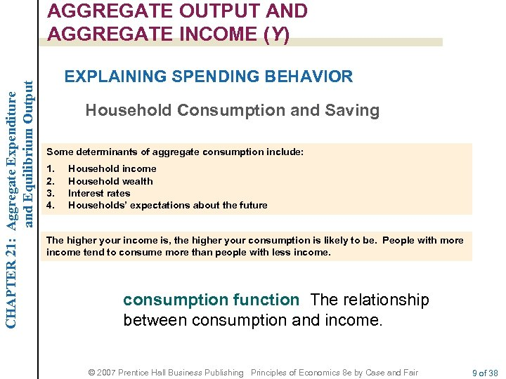 CHAPTER 21: Aggregate Expenditure and Equilibrium Output AGGREGATE OUTPUT AND AGGREGATE INCOME (Y) EXPLAINING