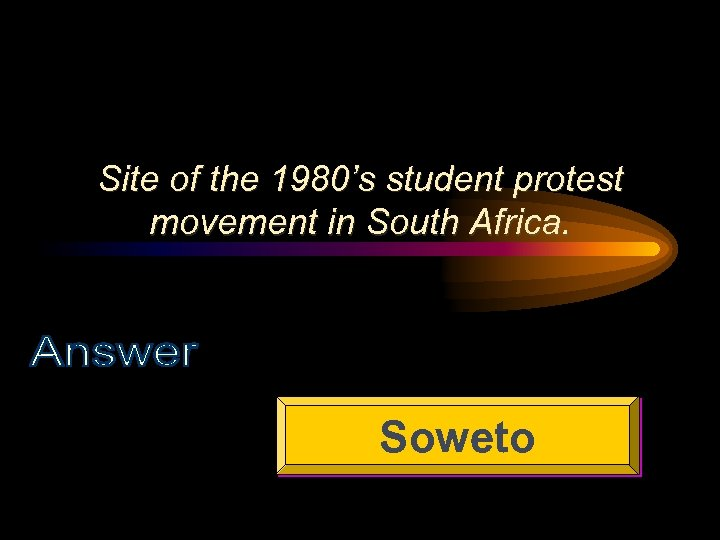 Site of the 1980's student protest movement in South Africa. Soweto