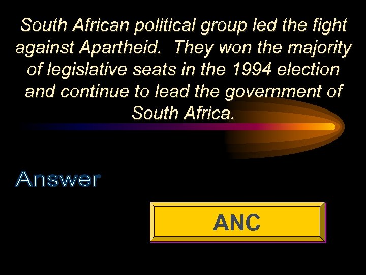 South African political group led the fight against Apartheid. They won the majority of